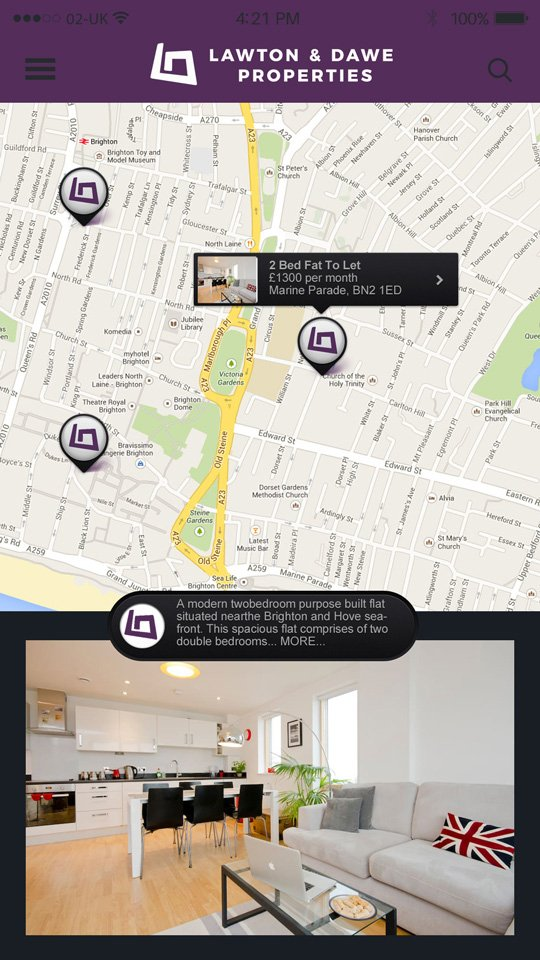 Lawton & Dawe Properties Mobile Application Screenshot Developed By Hove Digital